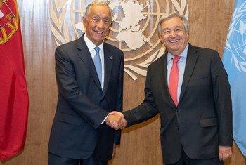 Presidente de Portugal, Marcelo Rebelo de Sosua, com o secretário-geral da ONU, António Guterres.
