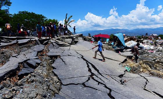 A ilha Sulawesi Central foi abalada pelo tremor de terra de magnitude 7,4  seguido de um tsunami