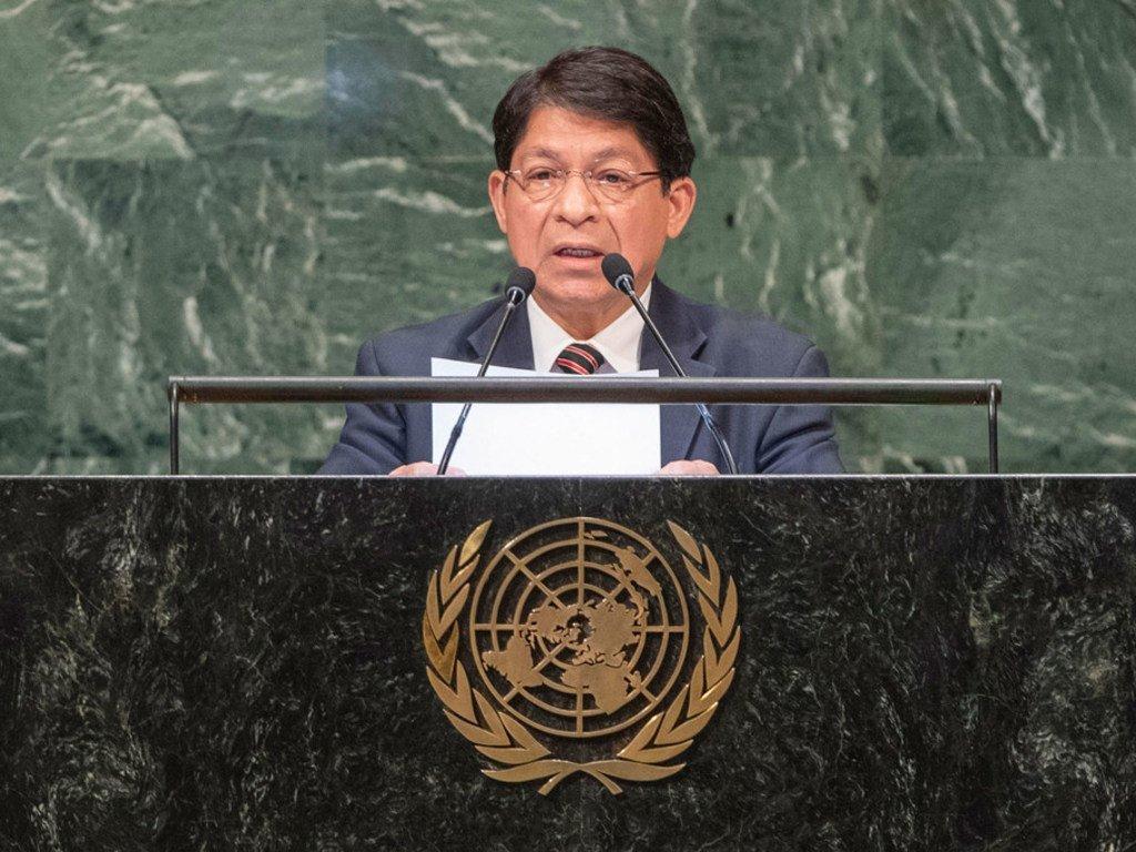 El ministro de Relaciones Exteriores de Nicaragua, Denis Moncada, durante su intervención en el 73 periodo de sesiones de la Asamblea General.