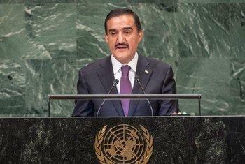 Махмадамин Махмадаминов, Постоянный представитель Таджикистана в ООН, выступает в Генассамблее ООН.