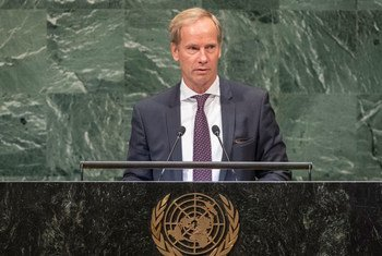 Olof Skoog, Chair of Delegation and Permanent Representative of Sweden to the UN, addresses the seventy-third session of the United Nations General Assembly.
