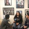 أحمد بكر وأسيل صبح، رئيسا برلمان طلاب الأونروا، خلال حوار مع أخبار الأمم المتحدة حول مشاركتها في مداولات الجمعية العامة للأمم المتحدة في نيويورك.