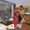 Около 400 семей внутренних переселенцев нашли убежище в лагере, расположенном к северу от Идлиба в Сирии.