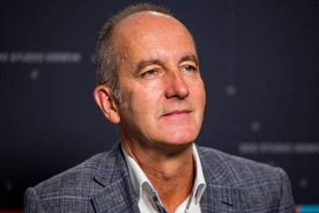 """Kevin McCloud in the UN Geneva SDG Studio. He describes himself as """"very locked into the idea that we build not only great architecture, but great places, great communities."""""""
