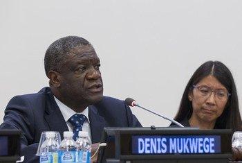Dkt. Denis Mukwege, muasisi na mkurugenzi wa tiba wa hospitali ya Panzi huko DR Congo, wakati uzinduzi wa ripoti ya kamisheni ya kimataifa kuhusu afya jijini New York, Marekani 20 Septemba 2016
