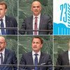 De haut en bas à droite: le Président français Emmanuel Macron, le Président suisse Alain Berset, le Premier ministre belge Charles Michel, le Premier ministre luxembourgeois Xavier Bettel et le ministre des affaires étrangères monégasque Gilles Tonelli