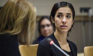الناشطة العراقية الإيزيدية نادية مراد سفيرة الأمم المتحدة للنوايا الحسنة لكرامة ضحايا الاتجار بالبشر.