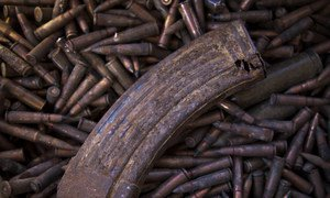 Ammunition for small arms and other unexploded ordnance, stored at a secure location in Mali, prior to their safe disposal.