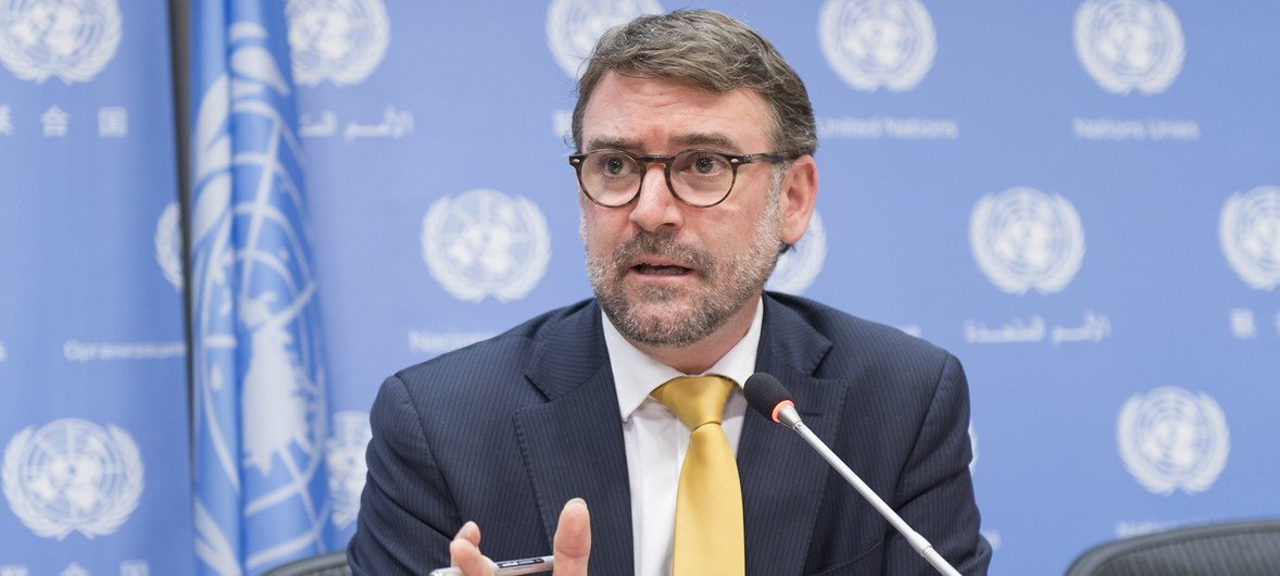 Bernard Duhaime, Chair of the Working Group on Enforced or Involuntary Disappearances at a press conference at UN Headquarters on 20 October 2017.
