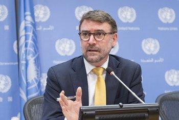 Bernard Duhaime, presidente del Grupo de Trabajo sobre Desapariciones Forzadas o Involuntarias en una conferencia de prensa en la sede de la ONU el 20 de octubre de 2017.