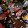 Children at a World Food Programme (WFP)-supported children's nursery and Hasong Kindergarten in Sinwon County in South Hwanghae Province, Democratic People's Republic of Korea, 9 May 2018.