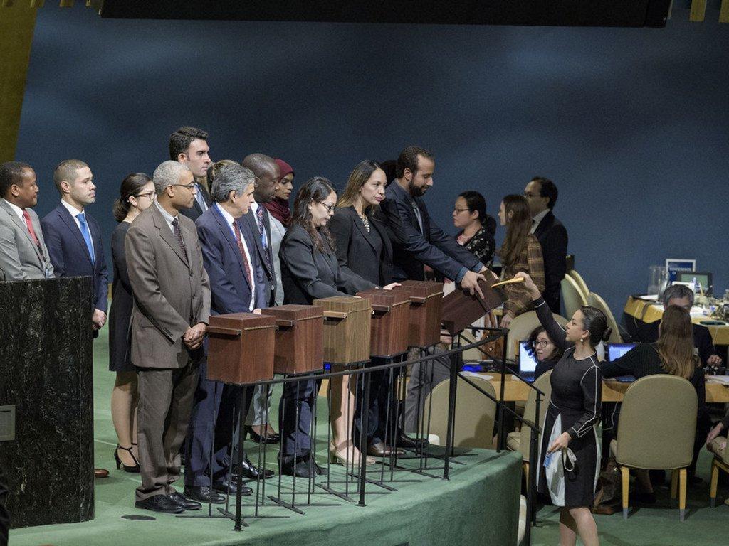 在2018年10月12日联大会议上,为选举人权理事会成员收集选票。