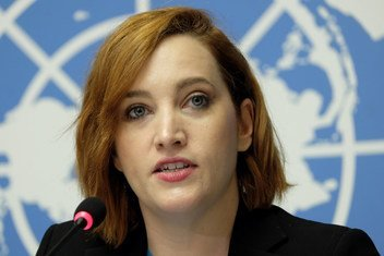 UNHCR spokesperson Catherine Stubberfield at a press conference at United Nations Office at Geneva on 12 October 2018.