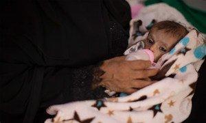 De acordo com o Unicef, 1,8 milhão de crianças sofrem de desnutrição aguda no Iémen.