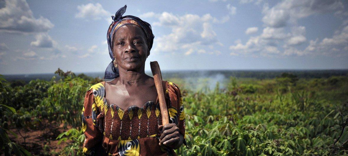 Une femme dans un champ de manioc à Mbaiki, en République centrafricaine (RCA).