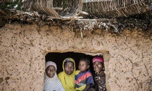 Les membres d'une famille regardent par la fenêtre de leur maison dans le village de Dargué, région de Maradi, au Niger, le 16 août 2018.