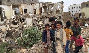 Niños en Saada, Yemen, donde el conflicto armado empeora la situación de pobreza.