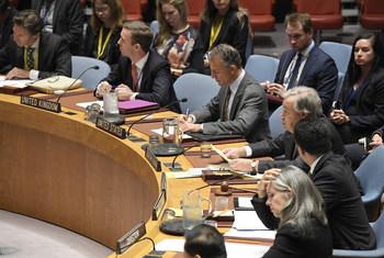 الأمين العام للأمم المتحدة أنطونيو غوتيريش أثناء إلقاء كلمته أمام مجلس الأمن