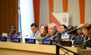 """Secretary General António Guterres (4th left) addresses high-level event on the """"Role of the AU-UN partnership in a globalized world""""."""