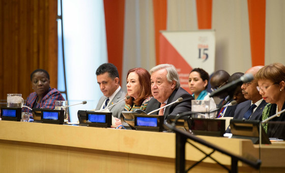 "Secretary General António Guterres (4th left) addresses high-level event on the ""Role of the AU-UN partnership in a globalized world""."