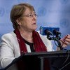 Michele Bachelet , Kamishina Mkuu wa Haki za binadamu wa Umoja wa Mataifa , akizungumza na waandishi wa habari 26 Septemba kwenye Makao makuu ya Umoja wa Mataifa New York