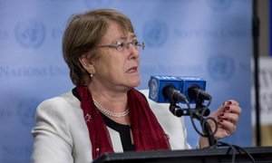 Michelle Bachelet, the UN High Commissioner for Human Rights, speaks to the press at UN Headquarters in New York.