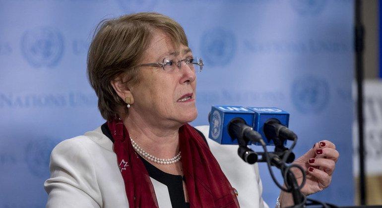 ميشيل باشيليت مفوضة الأمم المتحدة السامية لحقوق الإنسان  تتحدث إلى الصحافة في 26 أيلول/سبتمبر 2018 في مقر الأمم المتحدة في نيويورك. (من الأرشيف).