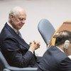 Staffan de Mistura, envoyé spécial des Nations unies pour la Syrie, lors de la réunion du Conseil de sécurité sur la situation au Moyen-Orient, le 17 octobre 2018.
