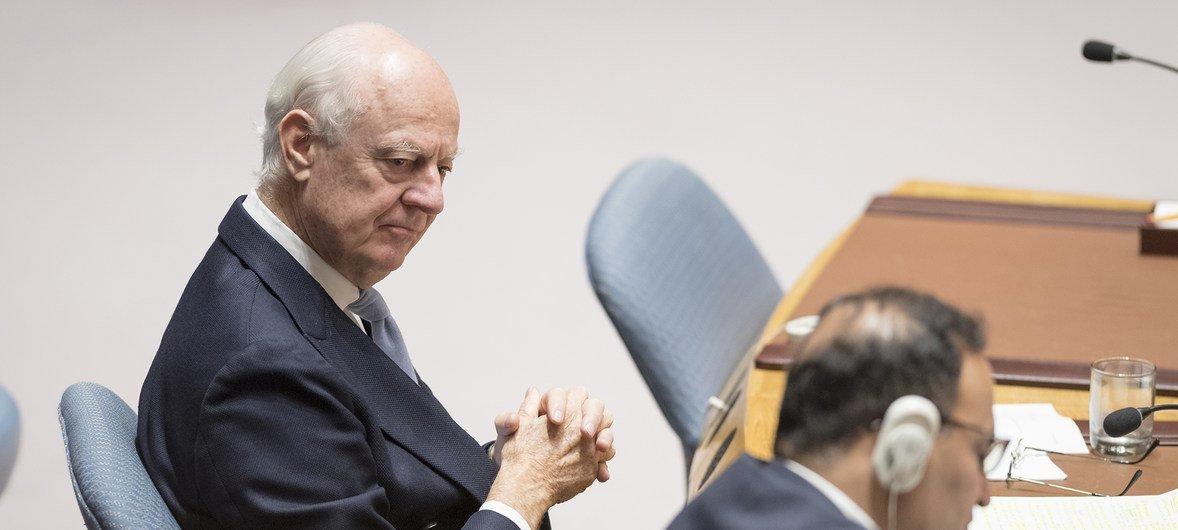 مبعوث الأمين العام الخاص إلى سوريا ستيفان دي ميستورا في مجلس الأمن الدولي. 17 أكتوبر 2018.