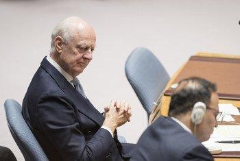 Staffan de Mistura, el enviado especial de la ONU para Siria, durante la reunión del Consejo de Seguridad el 17 de octubre de 2018.