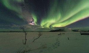 A aurora boreal em Kilpisjarvi, Finlândia.