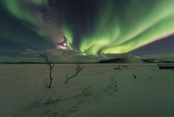 La aurora boreal en Kilpisjarvi, Finlandia.