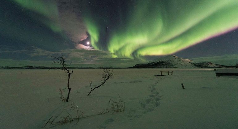 The northern lights or aurora borealis in Kilpisjarvi, Finland.