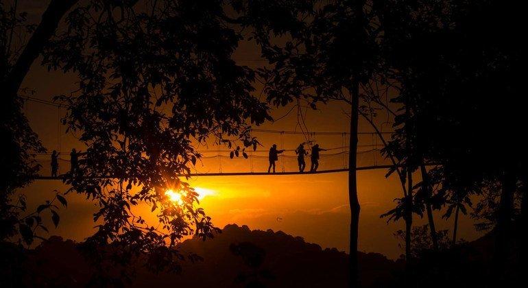 Sunset in the Nyungwe National Park in Rwanda.