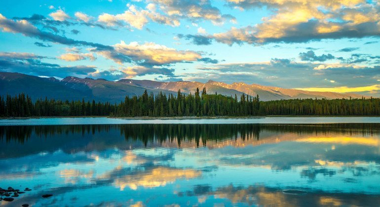 Boya Lake Provincial Park in British Colombia, Canada at midnight.