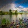 Радуга над озером Бармзее. Миттенвальд, Германия.