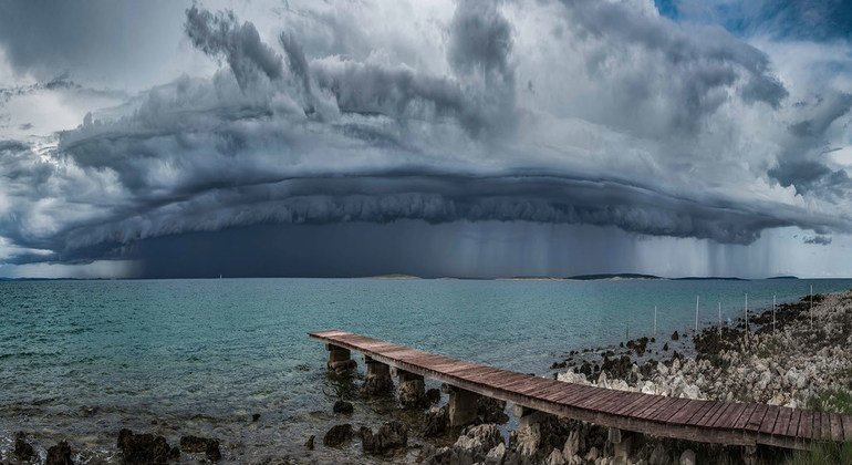 A shelf cloud, attached to the base of the parent cloud approaches the coast of the Island of Pag in Croatia.