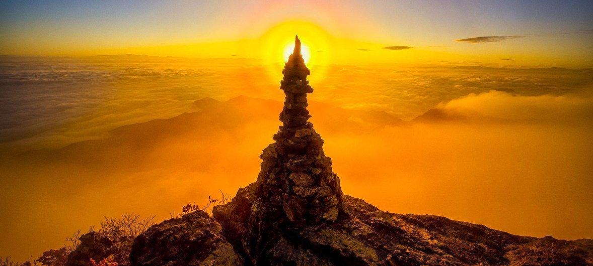 Гора Кимсо на рассвете. Республика Корея.