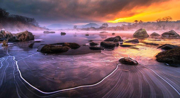 Sunrise at Kimso Mountain, Republic of Korea.