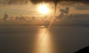 Kimbunga kikisafiri na kupita katikati ya bahari ya Lubenice nchini Croatia