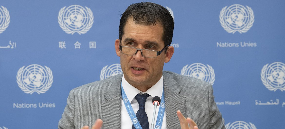 Professor Nils Melzer, UN Special Rapporteur on torture, at a press conference at UN Headquarters in New York.