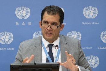 Le professeur Nils Melzer, rapporteur spécial des Nations Unies sur la torture, lors d'une conférence de presse au siège des Nations Unies à New York le 16 octobre 2018.