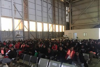 Refugees waiting at Tripoli International Airport, Libya, for their evacuation flight to Niger on 16 October 2018.