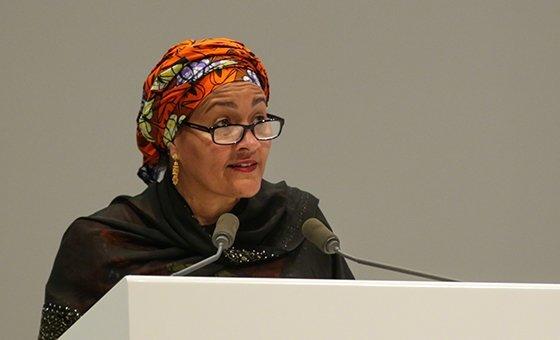 Amina Mohammed, vicesecretaria general de la ONU, durante su participación en Dubai en el Fofo Mundial de Datos.