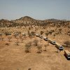 来自中国的维和人员的车队正在抵达杰贝尔马拉地区。联合国-非盟达尔富尔混合维和行动正在这里建立一个临时行动基地。