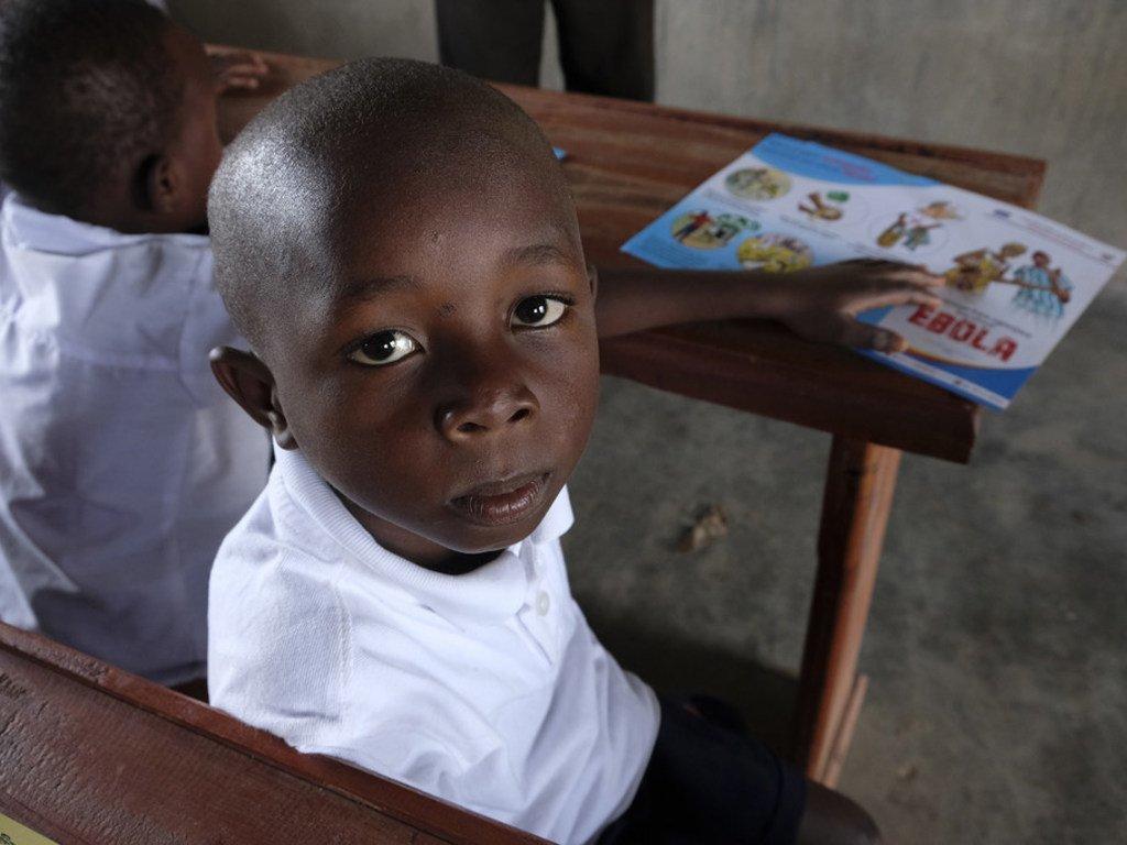 Kambale, âgé de 7 ans, à l'école dans le quartier de Ndindi, à Beni, en République démocratique du Congo, en septembre 2018.