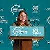 La Présidente de l'Assemblée générale des Nations Unies, Maria Fernanda Espinosa, à l'ouverture du Forum mondial de l'investissement à Genève.