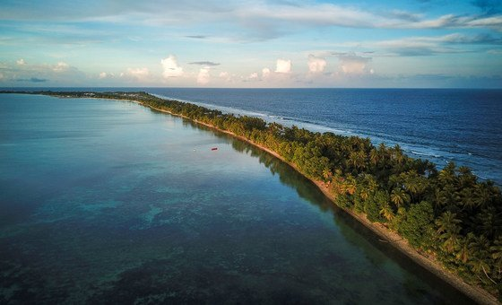 Tuvalu, an archipelago of nine atolls in the South Pacific Ocean, where the average height of the islands is less than 2 metres above sea level, is highly susceptible to the effects of global warming.
