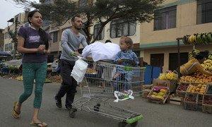 Refugiados venezuelanos em Lima, no Peru.
