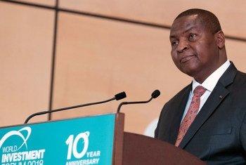 Le Président de la République centrafricaine, Faustin Archange Touadéra, au Forum mondial de l'investissement 2018 à Genève, en Suisse.